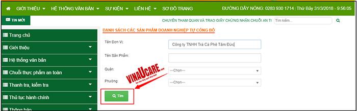 """Bước 4: Click vào ô """"Tìm"""" để hiển thị thông tin của đơn vị cần tìm kiếm"""