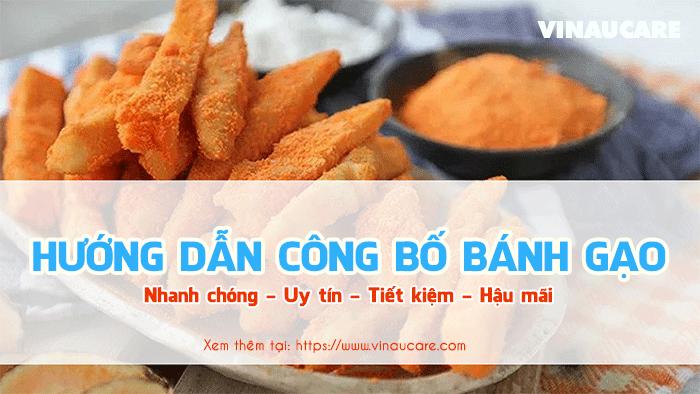 Quy trình thực hiện tự công bố chất lượng bánh gạo rong biển (Ảnh VinaUCare)