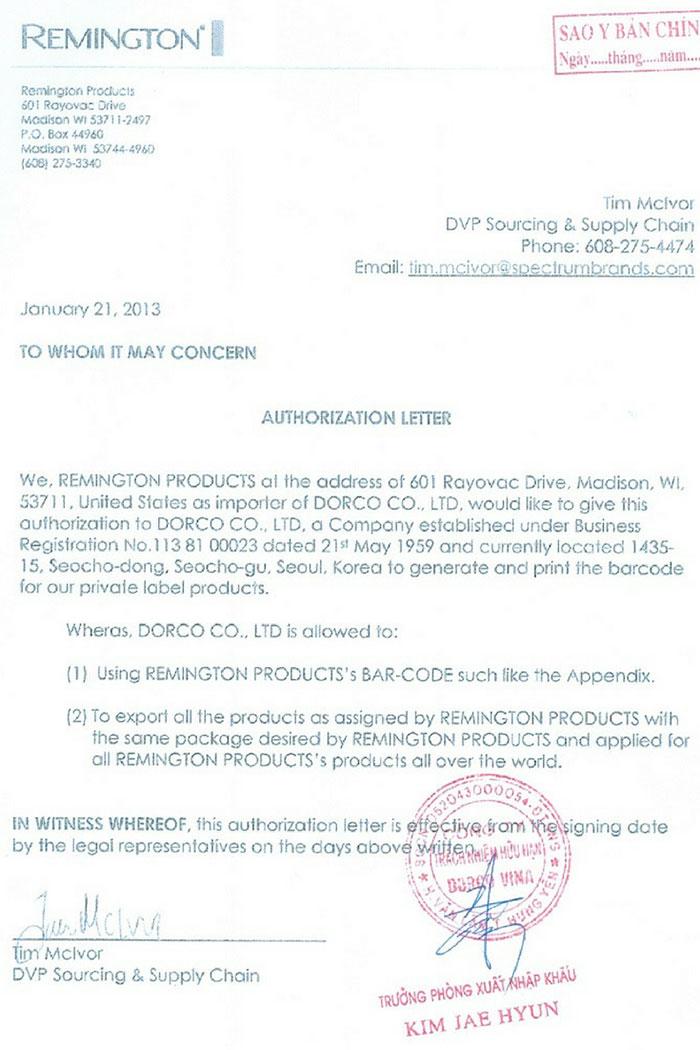 Mẫu Ủy quyền sử dụng mã nước ngoài tại Việt Nam (Ảnh VinaUCare)