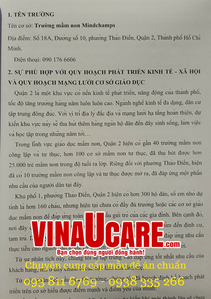 Mẫu đề án tại Vinaucare (3)
