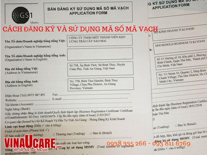 Dịch vụ đăng ký sử dụng mã số mã vạch (ảnh Vinaucare)