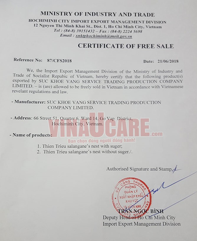 Mẫu giấy CFS - Chứng nhận lưu hành tự do (Ảnh VNU)