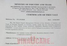 Dịch vụ đăng ký chứng nhận lưu hành tự do hàng xuất khẩu CFS