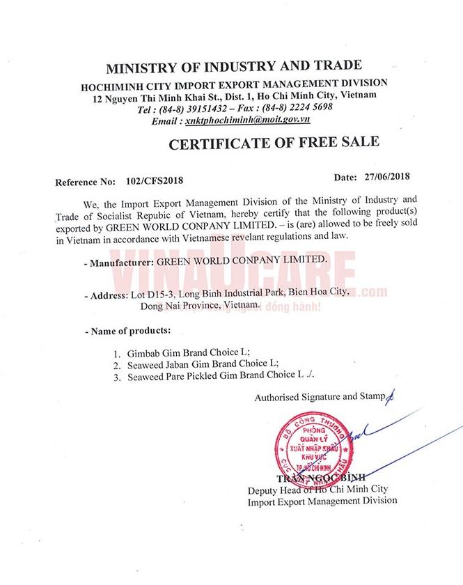 Cấp CFS - Mẫu giấy CFS do Bộ Công thương cấp (Ảnh: VNU)