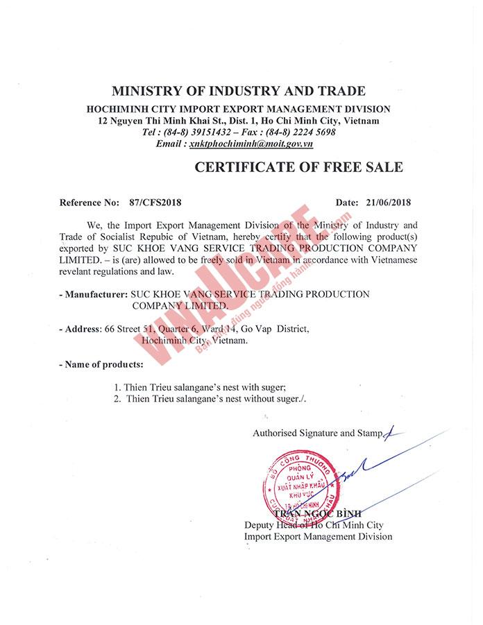 Mẫu Chứng nhận lưu hành tự do (Certificate of Free Sale) (Ảnh VinaUCare)