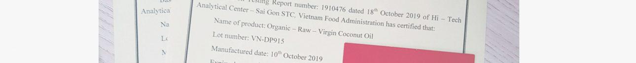 Đăng ký chứng nhận y tế cho dầu dừa