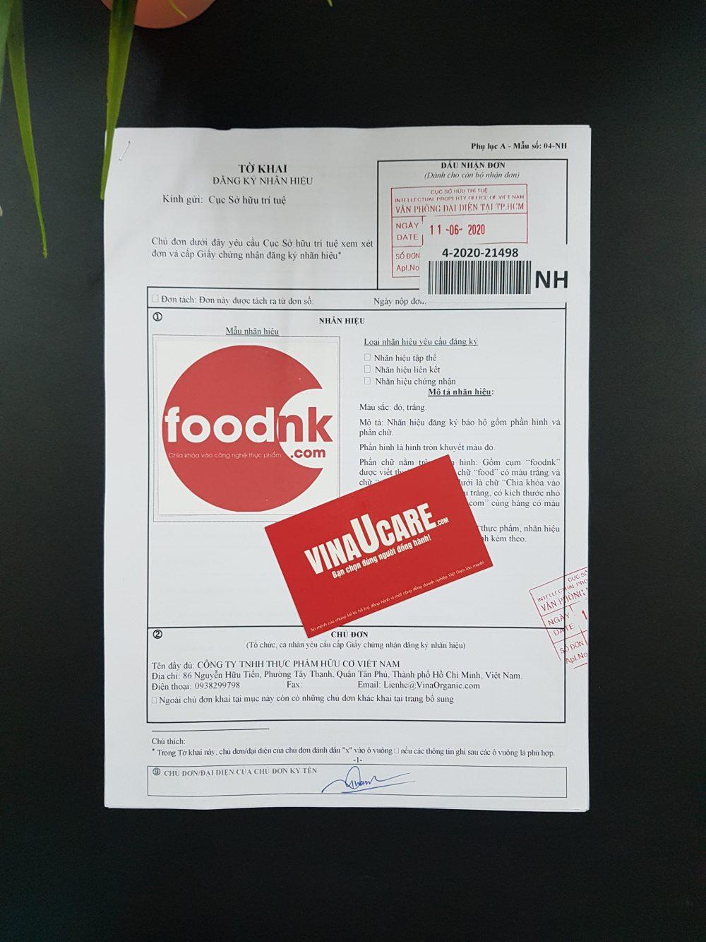 Mẫu bảo hộ nhãn hiệu dịch vụ giao hàngtại Vinaucare