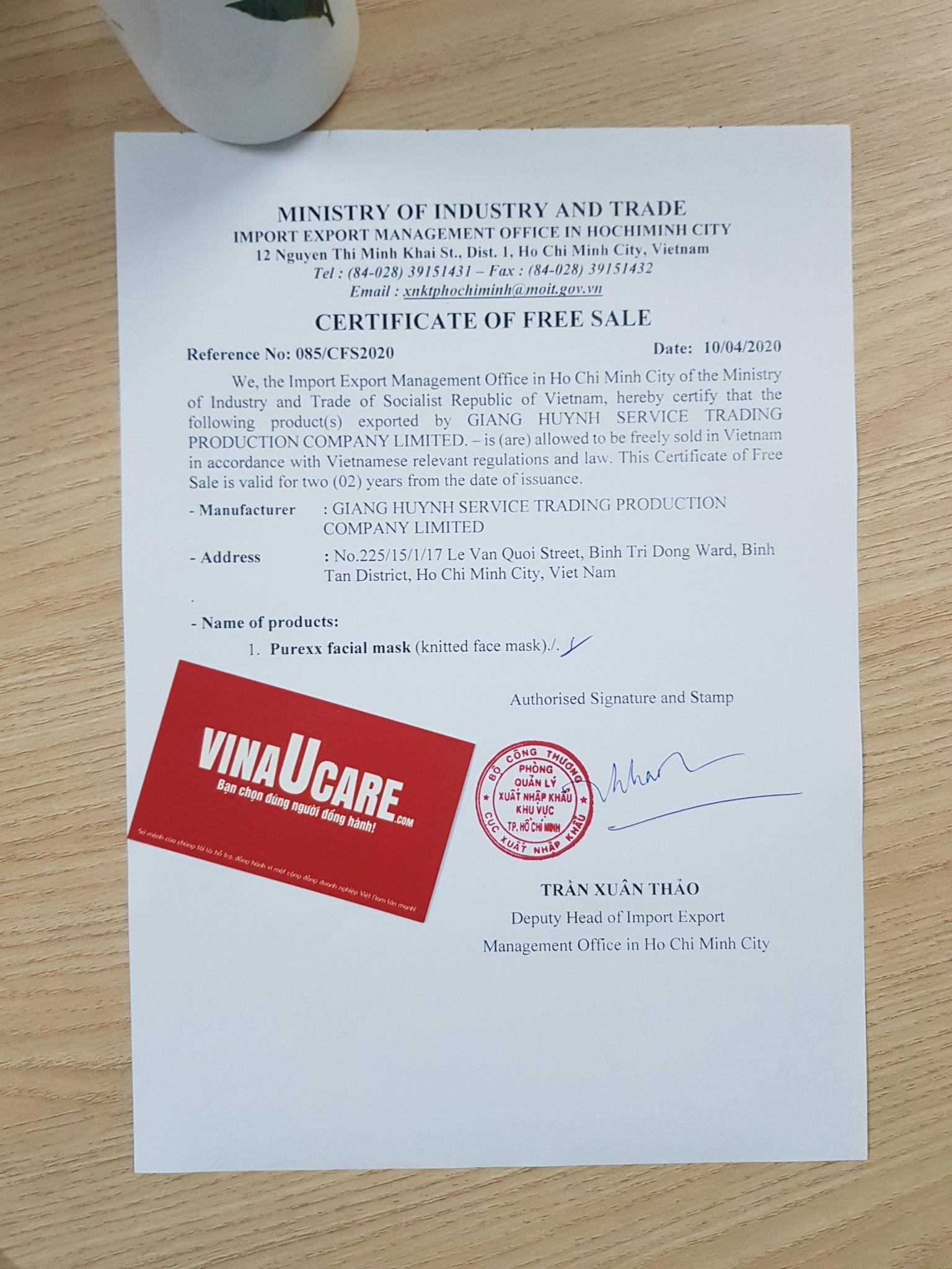 Đăng ký chứng nhận lưu hành tự do Hồng sấy dẻo