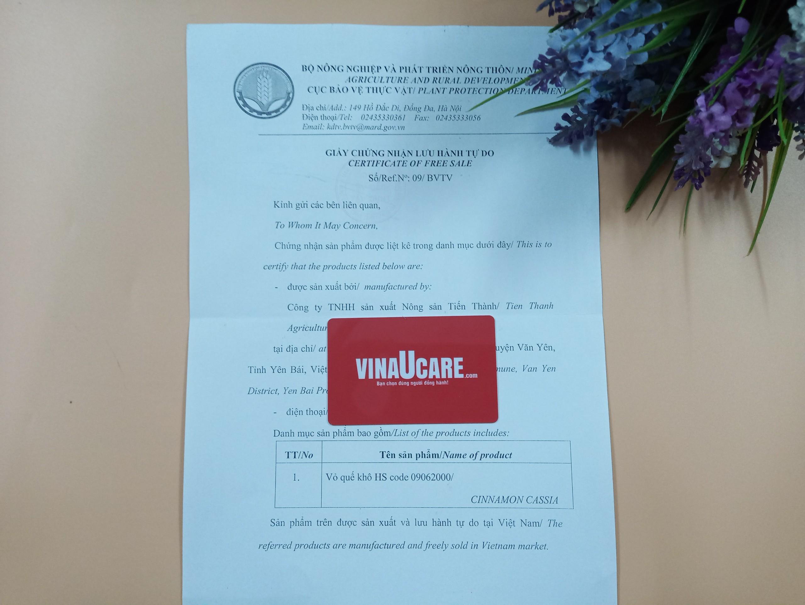 Chứng nhận lưu hành tự do CFS gạo lứt tại Bộ Nông Nghiệp và Phát Triển Nông Thôn 2021